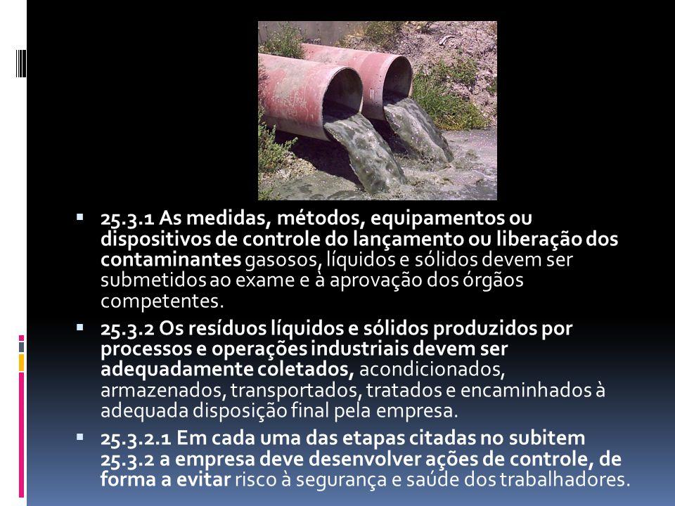  25.3.1 As medidas, métodos, equipamentos ou dispositivos de controle do lançamento ou liberação dos contaminantes gasosos, líquidos e sólidos devem