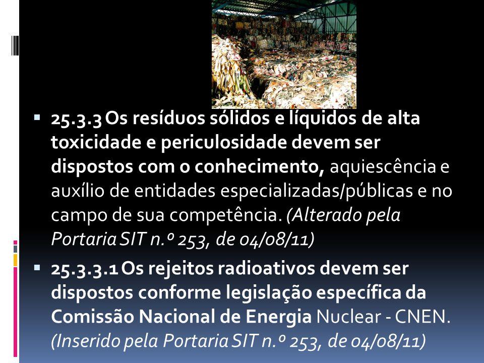  25.3.3 Os resíduos sólidos e líquidos de alta toxicidade e periculosidade devem ser dispostos com o conhecimento, aquiescência e auxílio de entidade