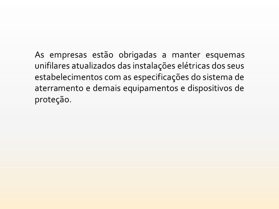 As empresas estão obrigadas a manter esquemas unifilares atualizados das instalações elétricas dos seus estabelecimentos com as especificações do sist