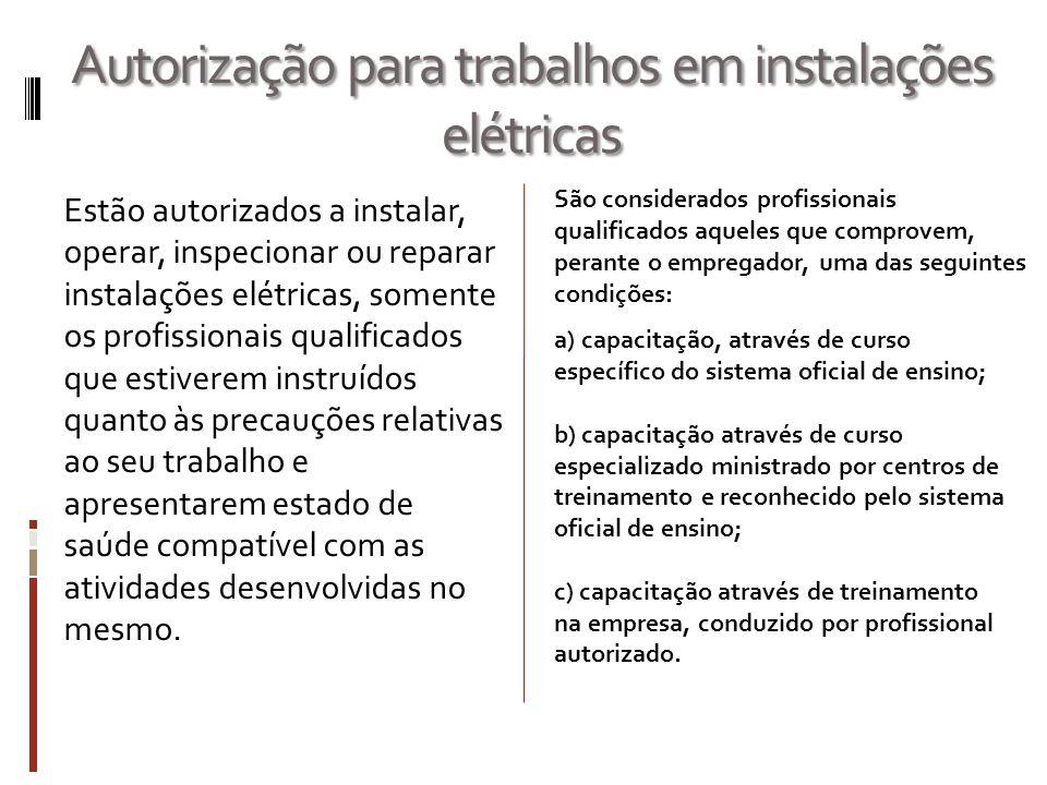 Autorização para trabalhos em instalações elétricas Estão autorizados a instalar, operar, inspecionar ou reparar instalações elétricas, somente os pro