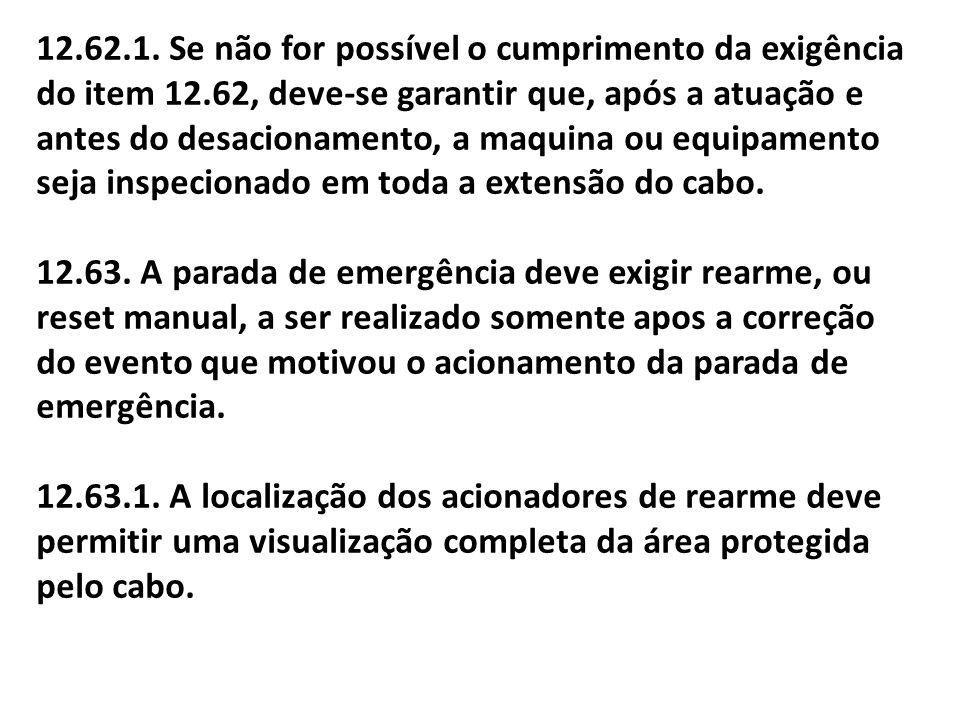 12.62.1. Se não for possível o cumprimento da exigência do item 12.62, deve-se garantir que, após a atuação e antes do desacionamento, a maquina ou eq