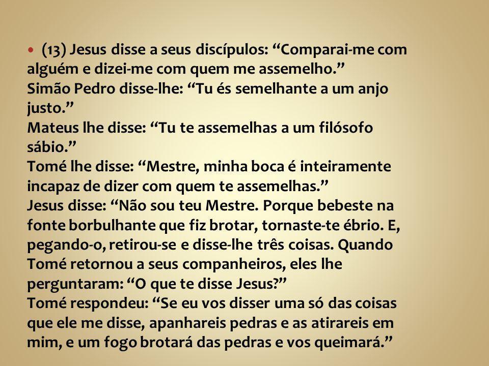 """(13) Jesus disse a seus discípulos: """"Comparai-me com alguém e dizei-me com quem me assemelho."""" Simão Pedro disse-lhe: """"Tu és semelhante a um anjo just"""