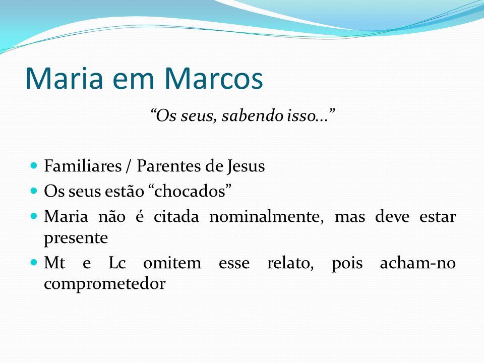 """Maria em Marcos """"Os seus, sabendo isso..."""" Familiares / Parentes de Jesus Os seus estão """"chocados"""" Maria não é citada nominalmente, mas deve estar pre"""