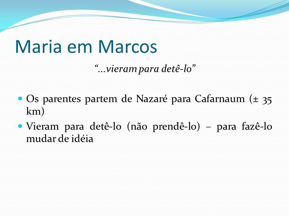"""Maria em Marcos """"...vieram para detê-lo"""" Os parentes partem de Nazaré para Cafarnaum (± 35 km) Vieram para detê-lo (não prendê-lo) – para fazê-lo muda"""