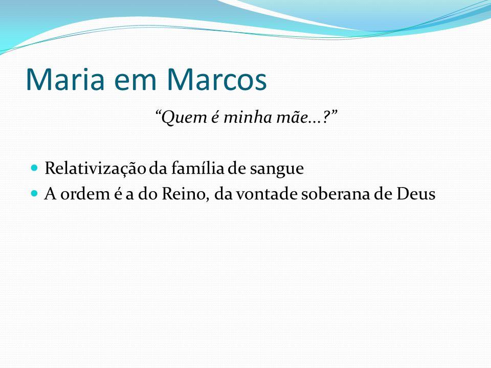 """Maria em Marcos """"Quem é minha mãe...?"""" Relativização da família de sangue A ordem é a do Reino, da vontade soberana de Deus"""