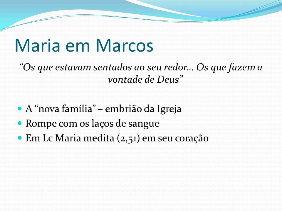 """Maria em Marcos """"Os que estavam sentados ao seu redor... Os que fazem a vontade de Deus"""" A """"nova família"""" – embrião da Igreja Rompe com os laços de sa"""