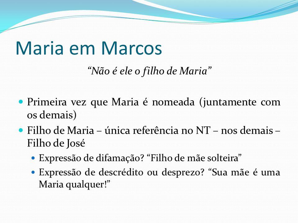 """Maria em Marcos """"Não é ele o filho de Maria"""" Primeira vez que Maria é nomeada (juntamente com os demais) Filho de Maria – única referência no NT – nos"""