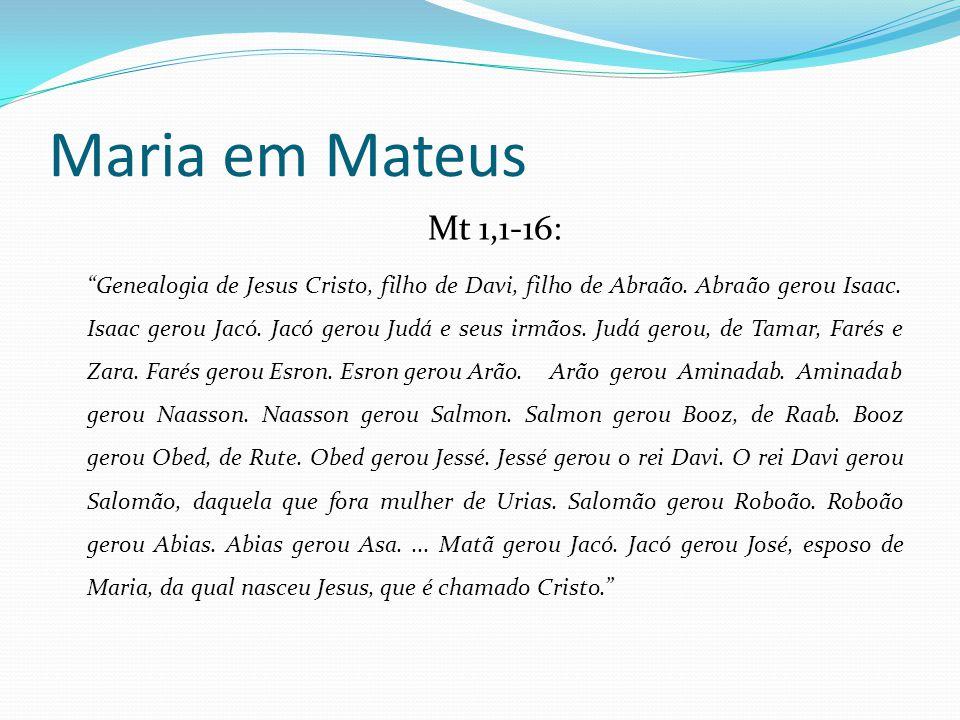 """Maria em Mateus Mt 1,1-16: """"Genealogia de Jesus Cristo, filho de Davi, filho de Abraão. Abraão gerou Isaac. Isaac gerou Jacó. Jacó gerou Judá e seus i"""