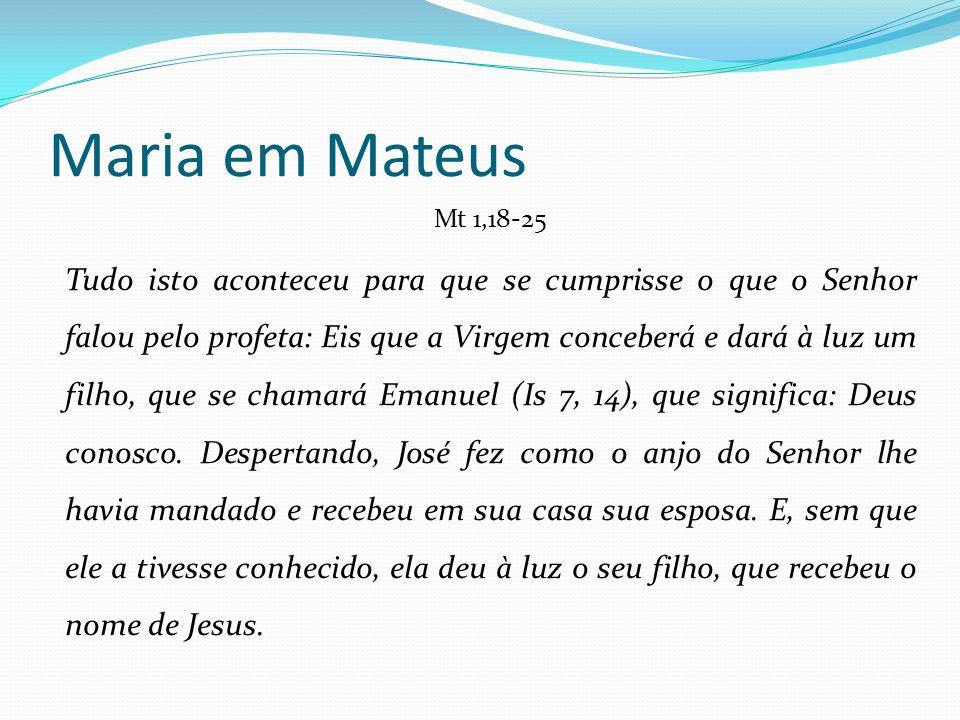 Maria em Mateus Mt 1,18-25 Tudo isto aconteceu para que se cumprisse o que o Senhor falou pelo profeta: Eis que a Virgem conceberá e dará à luz um fil