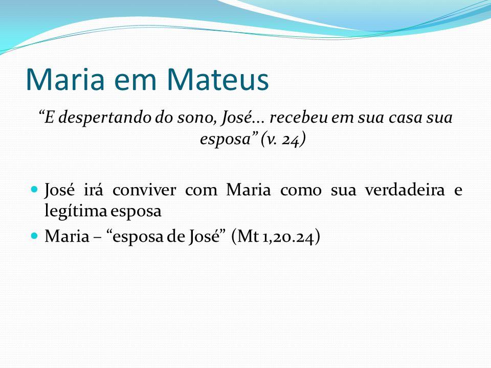 """Maria em Mateus """"E despertando do sono, José... recebeu em sua casa sua esposa"""" (v. 24) José irá conviver com Maria como sua verdadeira e legítima esp"""