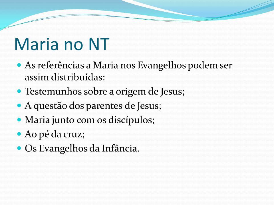 Maria no NT As referências a Maria nos Evangelhos podem ser assim distribuídas: Testemunhos sobre a origem de Jesus; A questão dos parentes de Jesus;