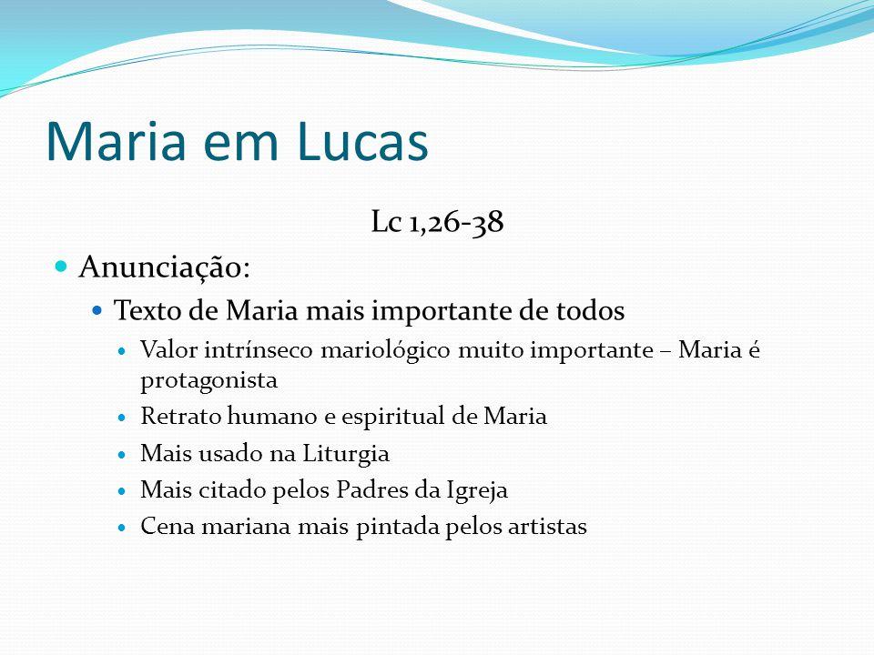 Maria em Lucas Lc 1,26-38 Anunciação: Texto de Maria mais importante de todos Valor intrínseco mariológico muito importante – Maria é protagonista Ret