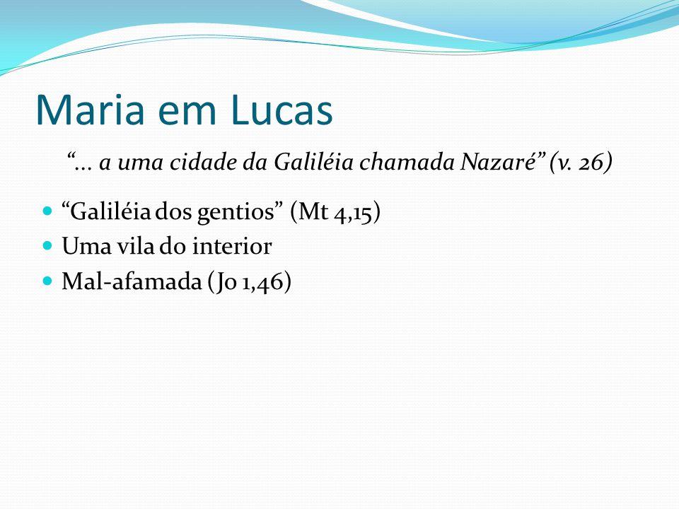"""Maria em Lucas """"... a uma cidade da Galiléia chamada Nazaré"""" (v. 26) """"Galiléia dos gentios"""" (Mt 4,15) Uma vila do interior Mal-afamada (Jo 1,46)"""