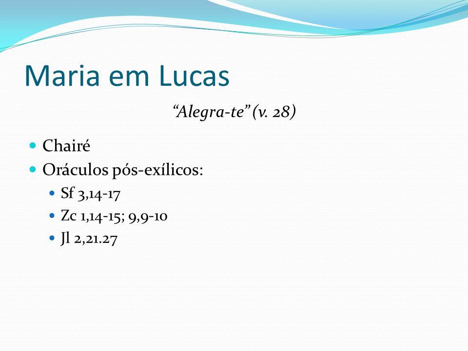 """Maria em Lucas """"Alegra-te"""" (v. 28) Chairé Oráculos pós-exílicos: Sf 3,14-17 Zc 1,14-15; 9,9-10 Jl 2,21.27"""