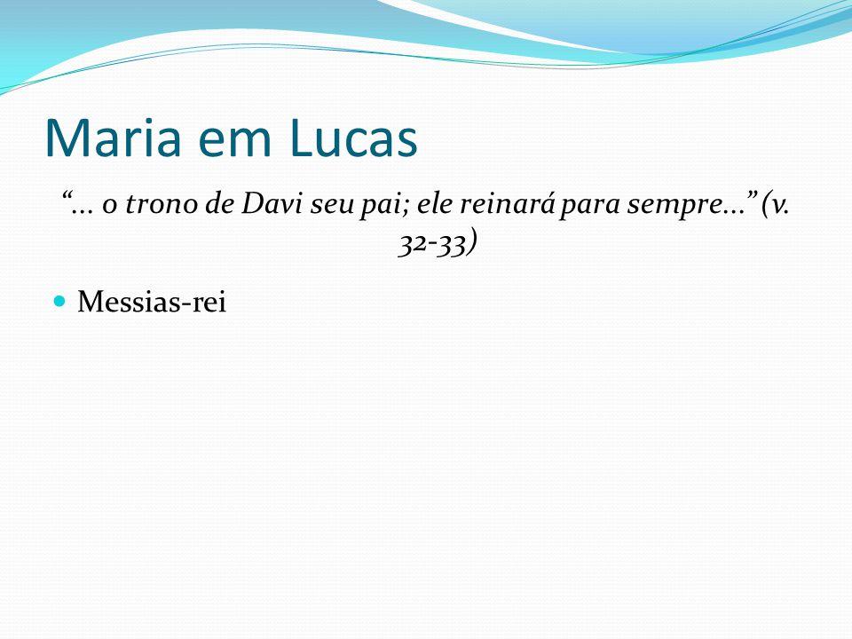 """Maria em Lucas """"... o trono de Davi seu pai; ele reinará para sempre..."""" (v. 32-33) Messias-rei"""