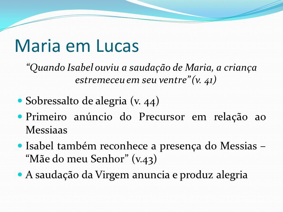 """Maria em Lucas """"Quando Isabel ouviu a saudação de Maria, a criança estremeceu em seu ventre"""" (v. 41) Sobressalto de alegria (v. 44) Primeiro anúncio d"""
