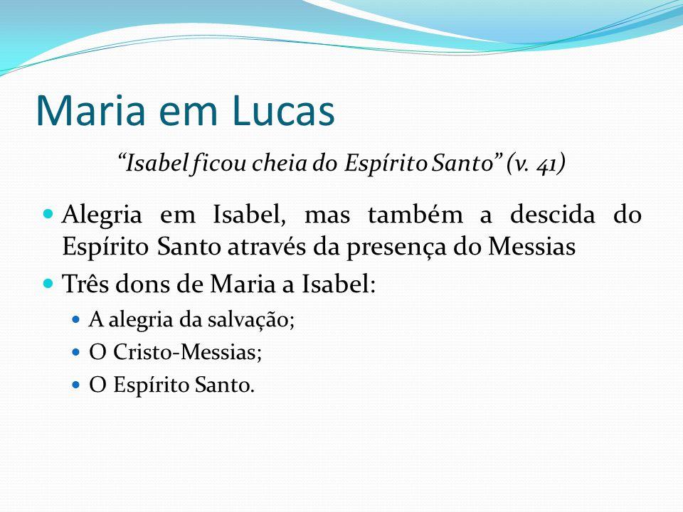 """Maria em Lucas """"Isabel ficou cheia do Espírito Santo"""" (v. 41) Alegria em Isabel, mas também a descida do Espírito Santo através da presença do Messias"""