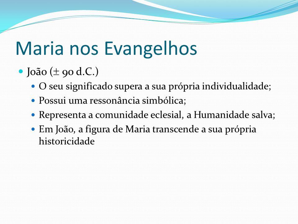 Maria nos Evangelhos João (  90 d.C.) O seu significado supera a sua própria individualidade; Possui uma ressonância simbólica; Representa a comunida