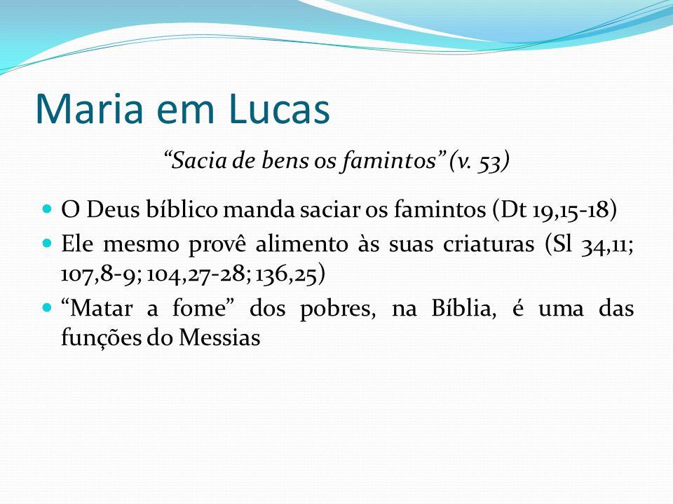 """Maria em Lucas """"Sacia de bens os famintos"""" (v. 53) O Deus bíblico manda saciar os famintos (Dt 19,15-18) Ele mesmo provê alimento às suas criaturas (S"""