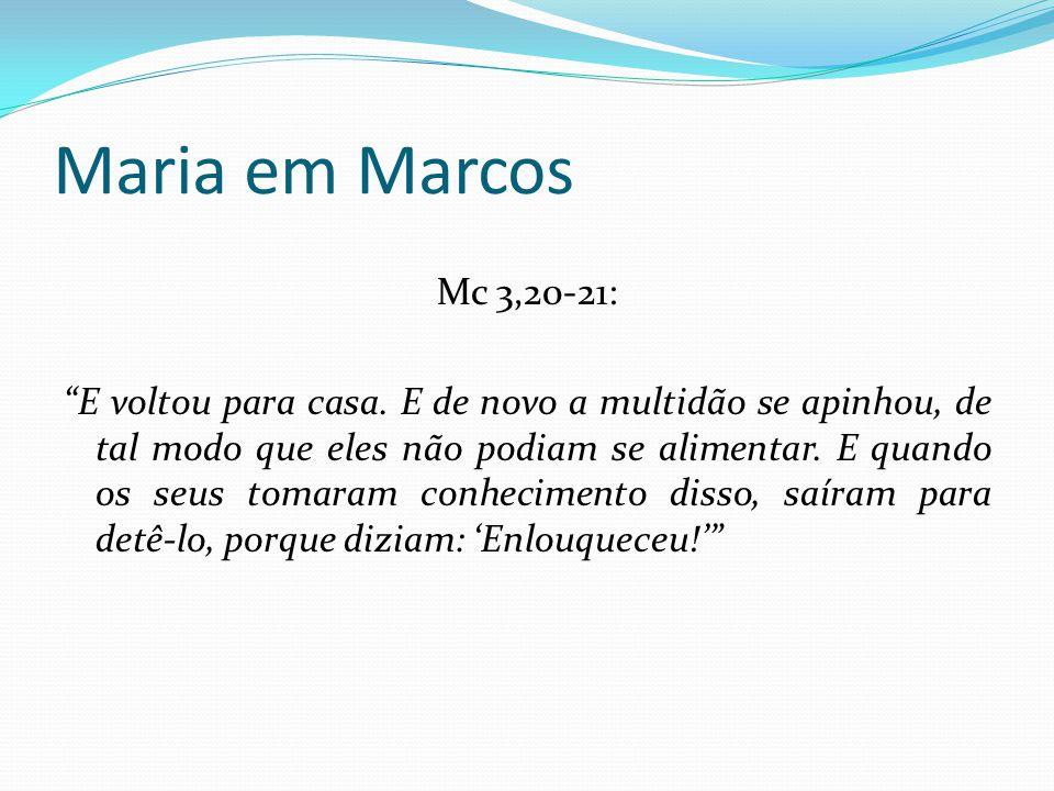 Maria em Marcos Não é ele o filho de Maria Primeira vez que Maria é nomeada (juntamente com os demais) Filho de Maria – única referência no NT – nos demais – Filho de José Expressão de difamação.