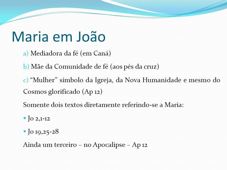 """a) Mediadora da fé (em Caná) b) Mãe da Comunidade de fé (aos pés da cruz) c) """"Mulher"""" símbolo da Igreja, da Nova Humanidade e mesmo do Cosmos glorific"""