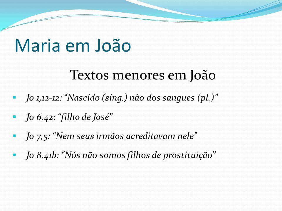 """Textos menores em João  Jo 1,12-12: """"Nascido (sing.) não dos sangues (pl.)""""  Jo 6,42: """"filho de José""""  Jo 7,5: """"Nem seus irmãos acreditavam nele"""" """
