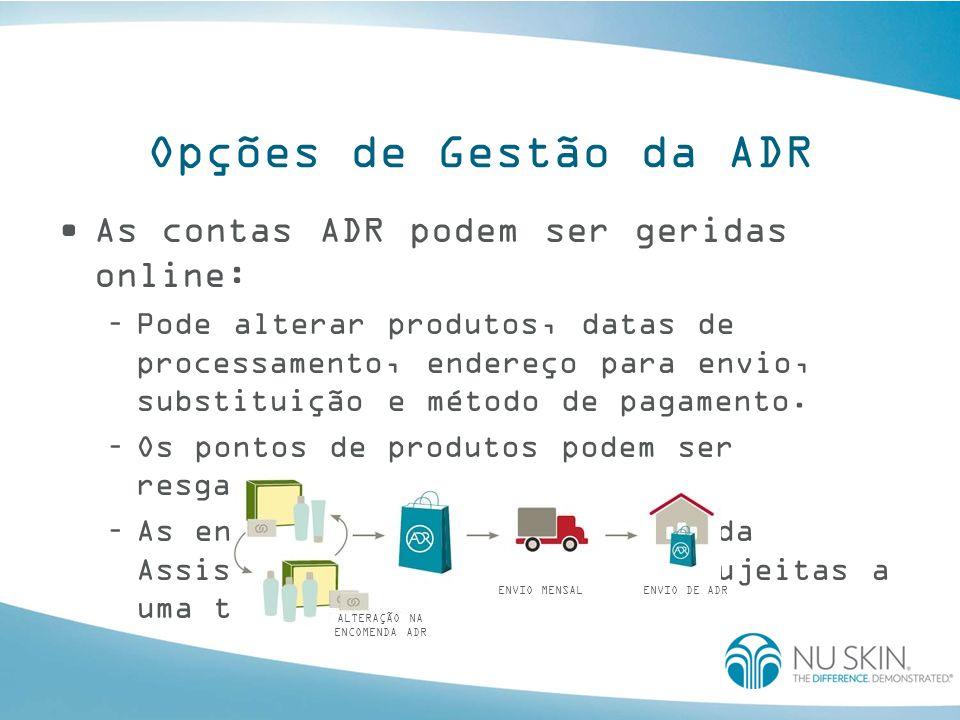 Opções de Gestão da ADR As contas ADR podem ser geridas online: –Pode alterar produtos, datas de processamento, endereço para envio, substituição e método de pagamento.