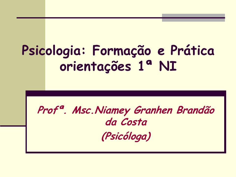 Psicologia: Formação e Prática orientações 1ª NI Profª. Msc.Niamey Granhen Brandão da Costa (Psicóloga)