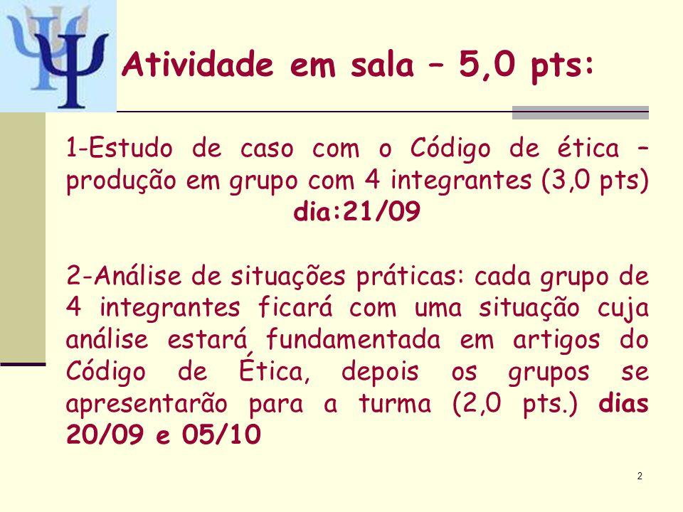 Atividade em sala – 5,0 pts: 2 1-Estudo de caso com o Código de ética – produção em grupo com 4 integrantes (3,0 pts) dia:21/09 2-Análise de situações