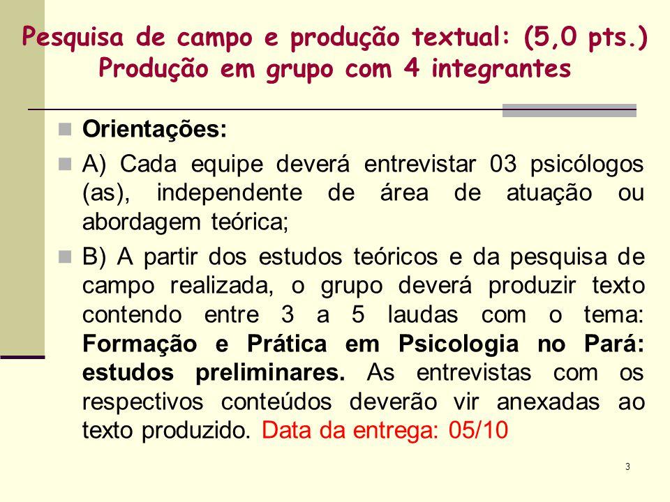 3 Pesquisa de campo e produção textual: (5,0 pts.) Produção em grupo com 4 integrantes Orientações: A) Cada equipe deverá entrevistar 03 psicólogos (a