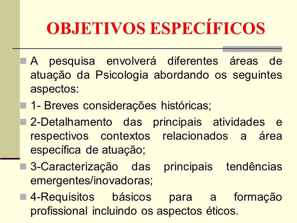 OBJETIVOS ESPECÍFICOS A pesquisa envolverá diferentes áreas de atuação da Psicologia abordando os seguintes aspectos: 1- Breves considerações históric