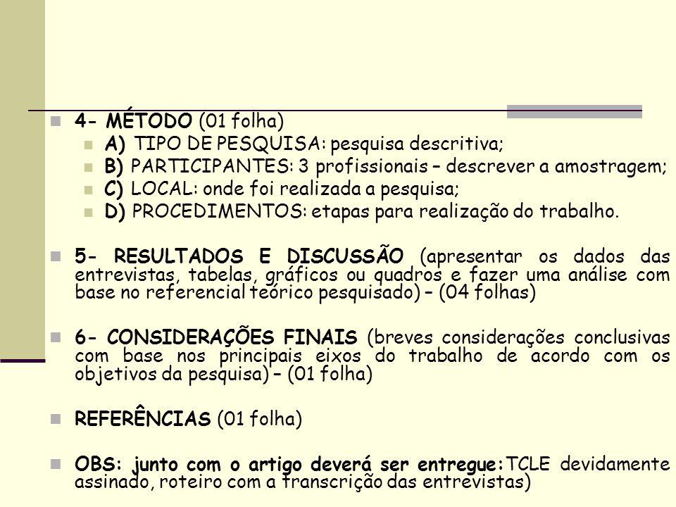 4- MÉTODO (01 folha) A) TIPO DE PESQUISA: pesquisa descritiva; B) PARTICIPANTES: 3 profissionais – descrever a amostragem; C) LOCAL: onde foi realizad
