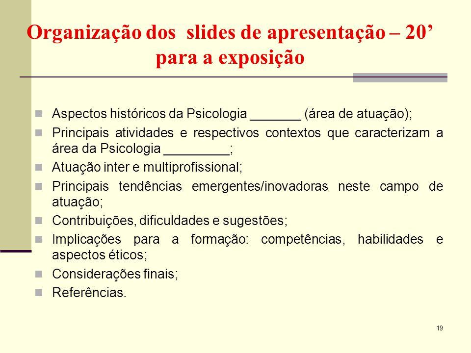 Organização dos slides de apresentação – 20' para a exposição Aspectos históricos da Psicologia _______ (área de atuação); Principais atividades e res