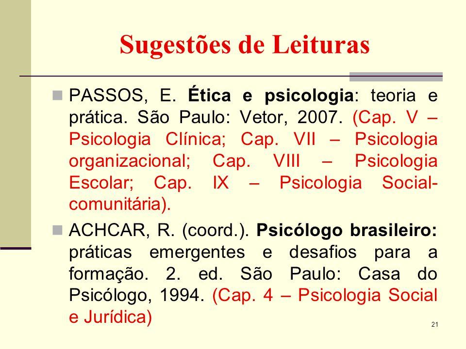 Sugestões de Leituras PASSOS, E. Ética e psicologia: teoria e prática. São Paulo: Vetor, 2007. (Cap. V – Psicologia Clínica; Cap. VII – Psicologia org