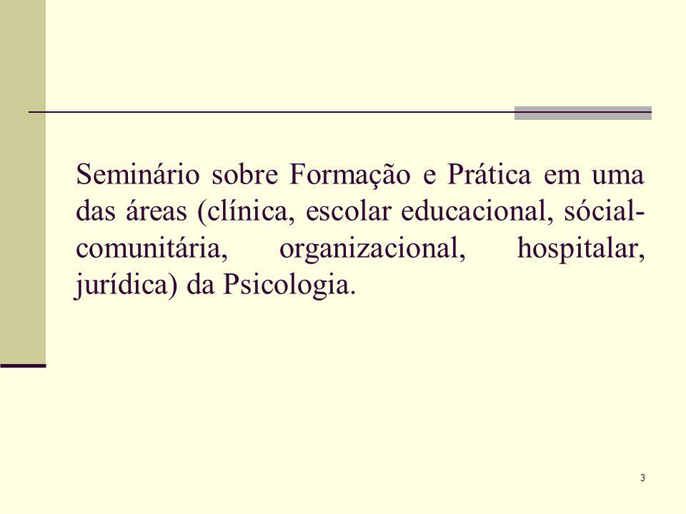 Seminário sobre Formação e Prática em uma das áreas (clínica, escolar educacional, sócial- comunitária, organizacional, hospitalar, jurídica) da Psico