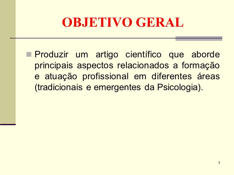 OBJETIVO GERAL Produzir um artigo científico que aborde principais aspectos relacionados a formação e atuação profissional em diferentes áreas (tradic