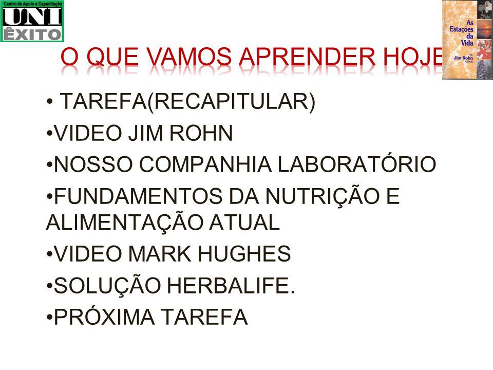 TAREFA(RECAPITULAR) VIDEO JIM ROHN NOSSO COMPANHIA LABORATÓRIO FUNDAMENTOS DA NUTRIÇÃO E ALIMENTAÇÃO ATUAL VIDEO MARK HUGHES SOLUÇÃO HERBALIFE.
