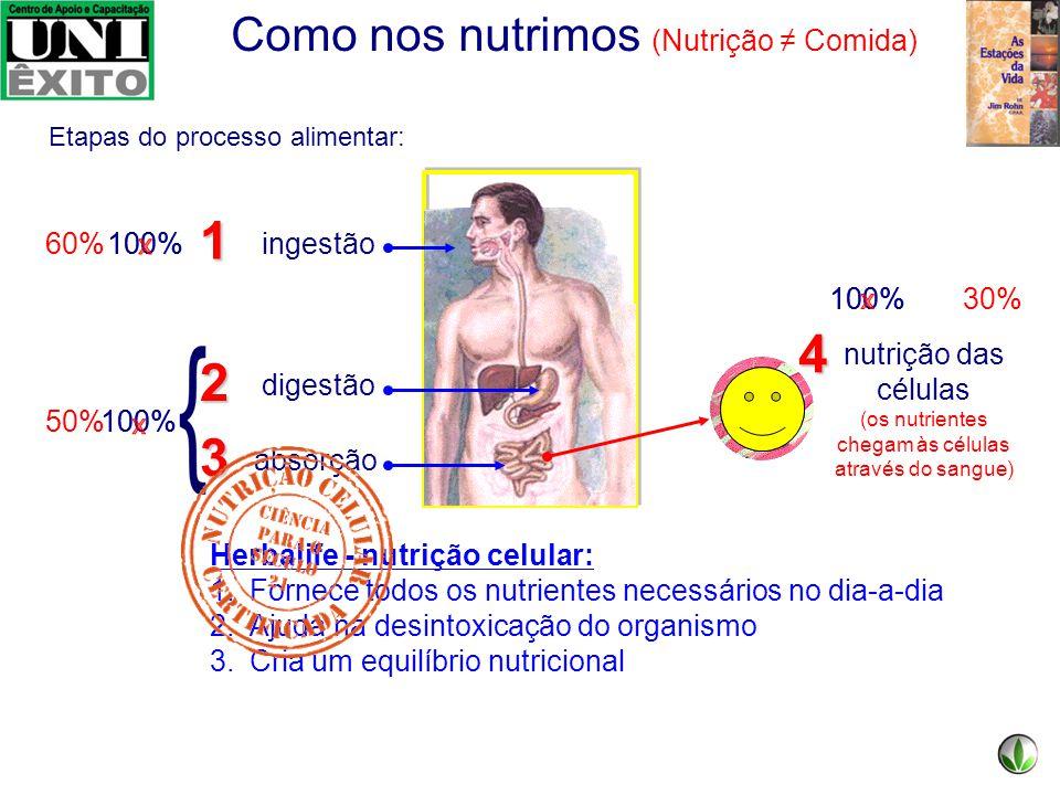 Como nos nutrimos (Nutrição ≠ Comida) 100% Como é nossa nutrição atualmente: ingestão digestão absorção 3 2 1 -comida rápida -comida de baixa qualidad