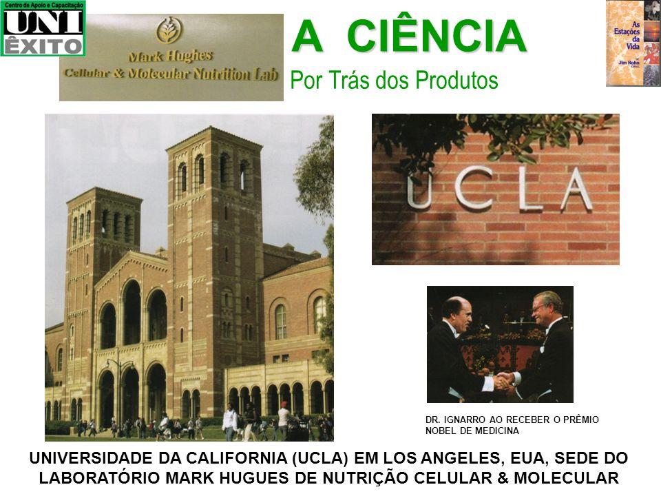 A CIÊNCIA Por Trás dos Produtos UNIVERSIDADE DA CALIFORNIA (UCLA) EM LOS ANGELES, EUA, SEDE DO LABORATÓRIO MARK HUGUES DE NUTRIÇÃO CELULAR & MOLECULAR DR.