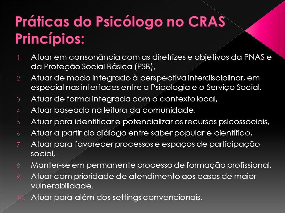 1. Atuar em consonância com as diretrizes e objetivos da PNAS e da Proteção Social Básica (PSB), 2. Atuar de modo integrado à perspectiva interdiscipl