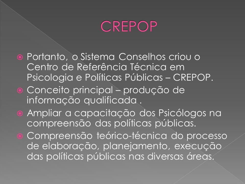  Portanto, o Sistema Conselhos criou o Centro de Referência Técnica em Psicologia e Políticas Públicas – CREPOP.  Conceito principal – produção de i