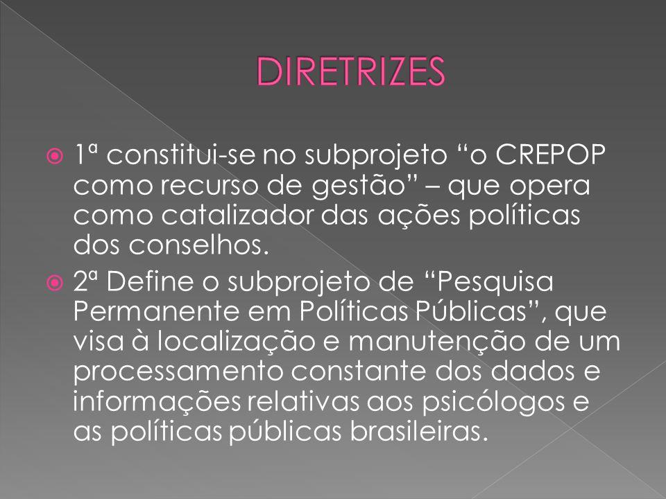 """ 1ª constitui-se no subprojeto """"o CREPOP como recurso de gestão"""" – que opera como catalizador das ações políticas dos conselhos.  2ª Define o subpro"""