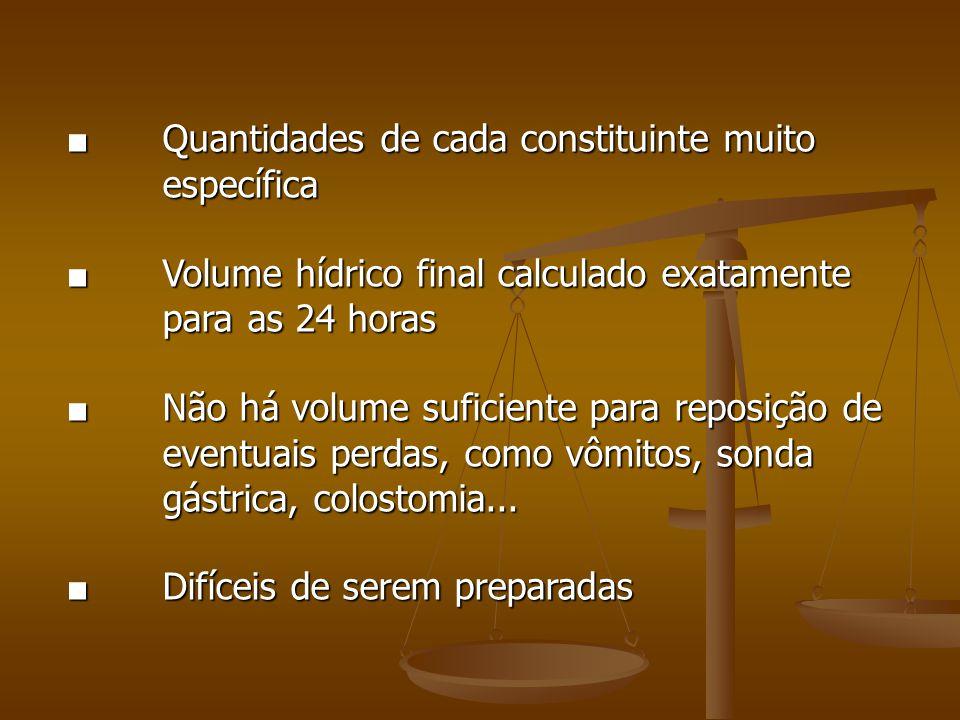 ■ Quantidades de cada constituinte muito específica ■ Volume hídrico final calculado exatamente para as 24 horas ■ Não há volume suficiente para reposição de eventuais perdas, como vômitos, sonda gástrica, colostomia...