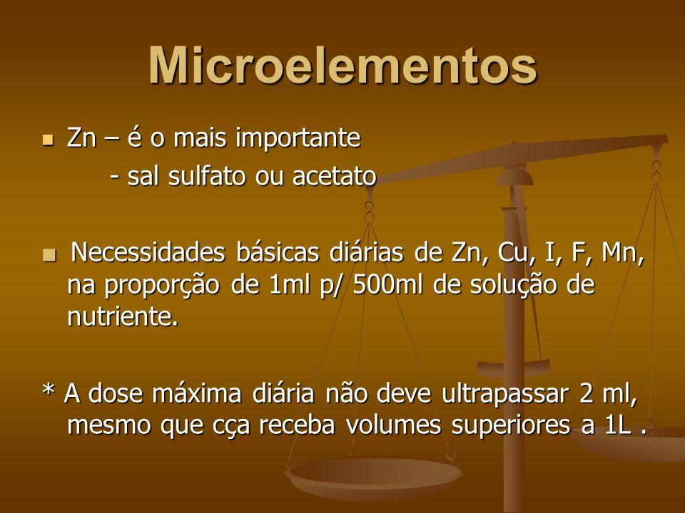Microelementos Zn – é o mais importante Zn – é o mais importante - sal sulfato ou acetato ■ Necessidades básicas diárias de Zn, Cu, I, F, Mn, na proporção de 1ml p/ 500ml de solução de nutriente.
