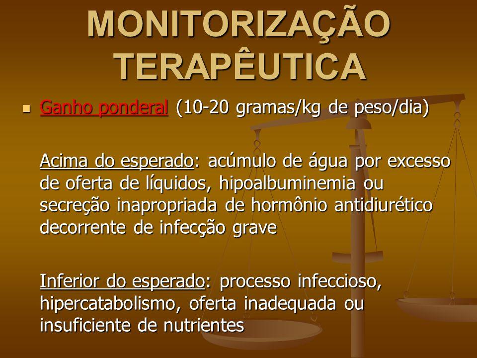 MONITORIZAÇÃO TERAPÊUTICA Ganho ponderal (10-20 gramas/kg de peso/dia) Ganho ponderal (10-20 gramas/kg de peso/dia) Acima do esperado: acúmulo de água por excesso de oferta de líquidos, hipoalbuminemia ou secreção inapropriada de hormônio antidiurético decorrente de infecção grave Inferior do esperado: processo infeccioso, hipercatabolismo, oferta inadequada ou insuficiente de nutrientes