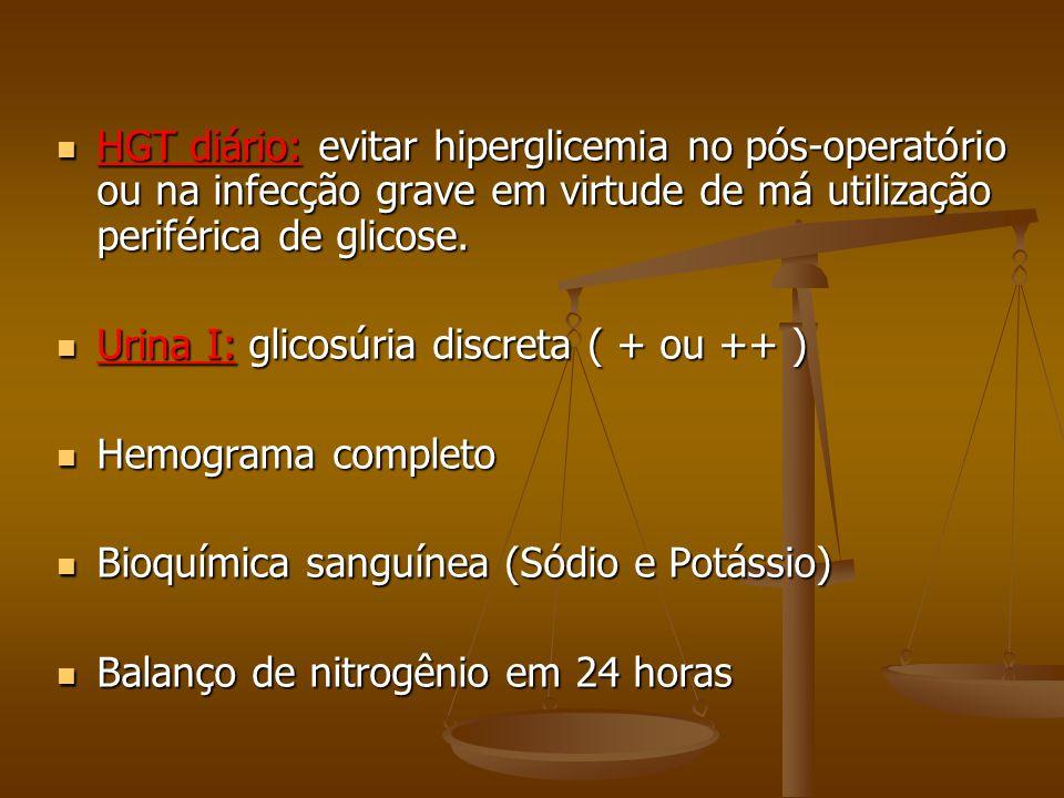 HGT diário: evitar hiperglicemia no pós-operatório ou na infecção grave em virtude de má utilização periférica de glicose. HGT diário: evitar hipergli