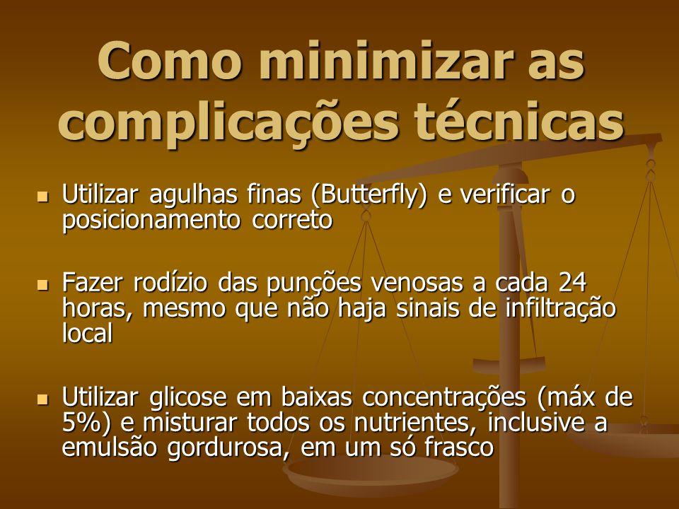 Como minimizar as complicações técnicas Utilizar agulhas finas (Butterfly) e verificar o posicionamento correto Utilizar agulhas finas (Butterfly) e v