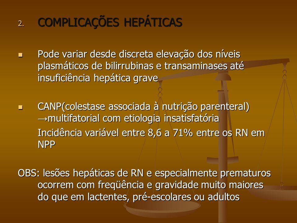 2. COMPLICAÇÕES HEPÁTICAS Pode variar desde discreta elevação dos níveis plasmáticos de bilirrubinas e transaminases até insuficiência hepática grave