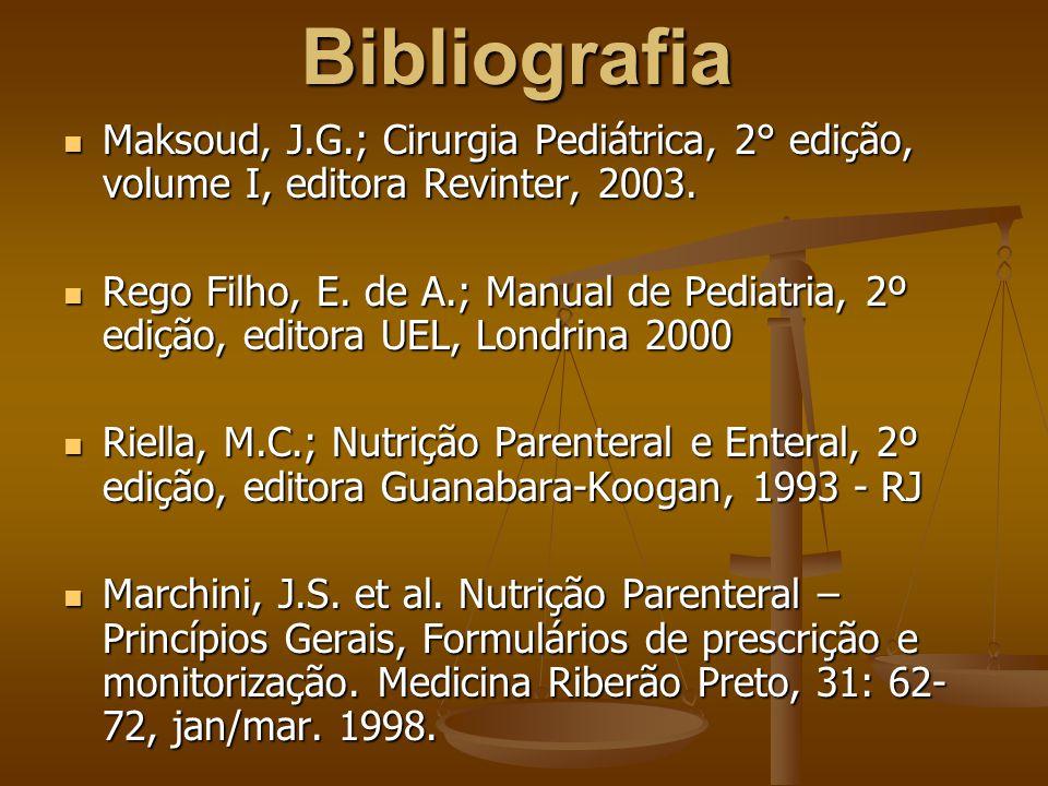 Bibliografia Maksoud, J.G.; Cirurgia Pediátrica, 2° edição, volume I, editora Revinter, 2003.