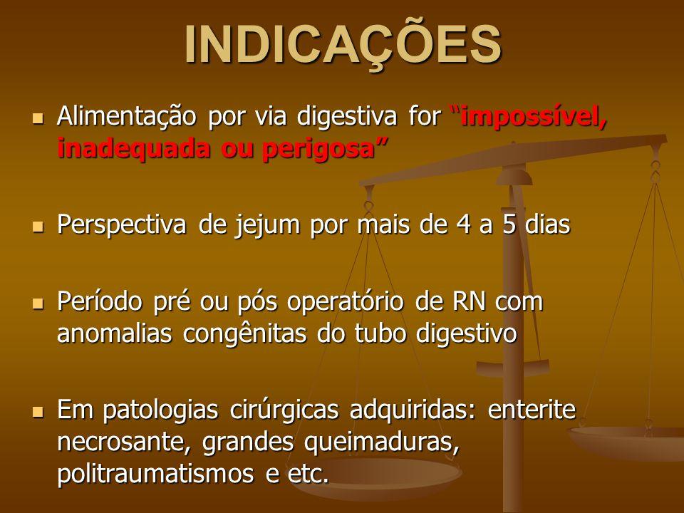INDICAÇÕES Alimentação por via digestiva for impossível, inadequada ou perigosa Alimentação por via digestiva for impossível, inadequada ou perigosa Perspectiva de jejum por mais de 4 a 5 dias Perspectiva de jejum por mais de 4 a 5 dias Período pré ou pós operatório de RN com anomalias congênitas do tubo digestivo Período pré ou pós operatório de RN com anomalias congênitas do tubo digestivo Em patologias cirúrgicas adquiridas: enterite necrosante, grandes queimaduras, politraumatismos e etc.